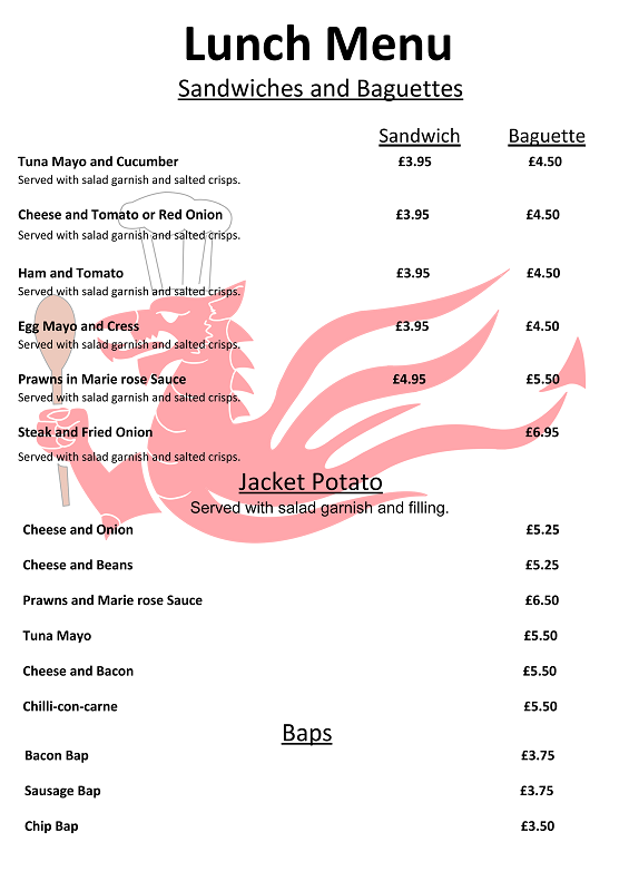 Golf Club Lunch Menu