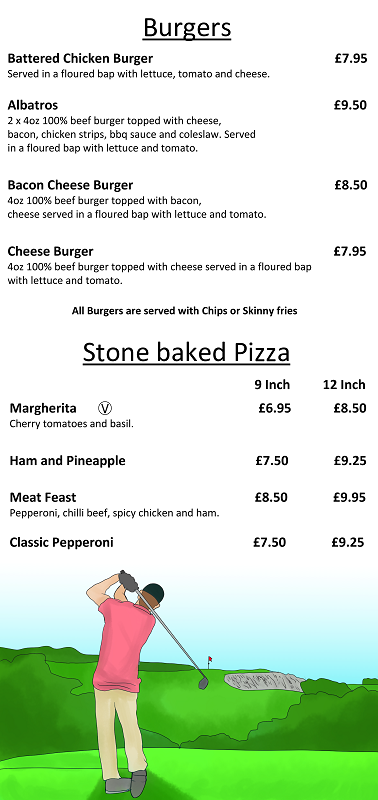 Golf Club Menu Burgers and Pizza
